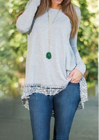 Solid Lace Irregular Long Sleeve Blouse