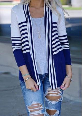 Striped Casual Long Sleeve Cardigan