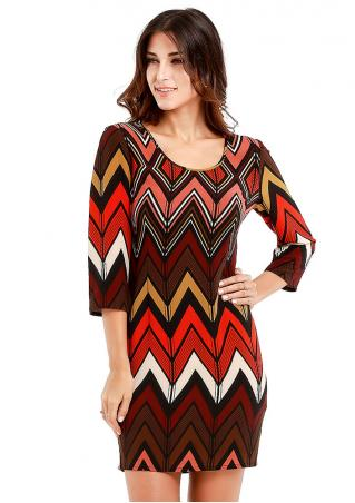 Zigzag Printed Bodycon Mini Dress