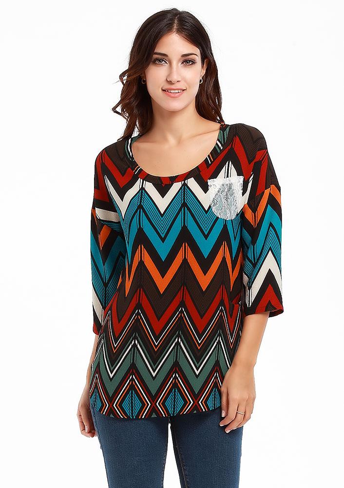 Bluză de damă, fashion, slim fit, asimetrică, cu imprimeu și mâneci 3/4