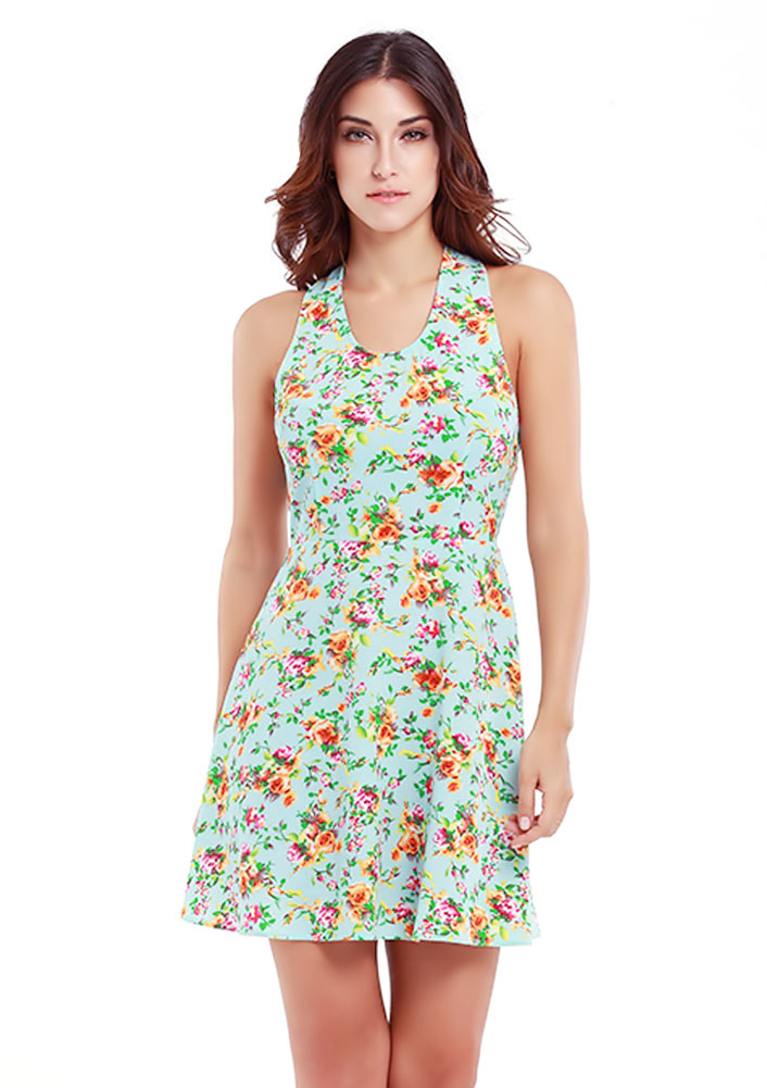 Rochie scurtă, fashion, slim fit, din poliester, cu imprimeu floral