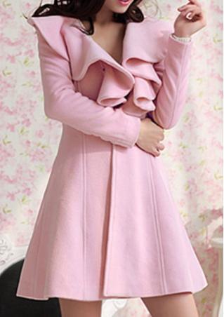 Solid Button Ruffled Collar Fashion Coat