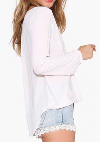 Solid Chiffon Casual Long Sleeve T-Shirt