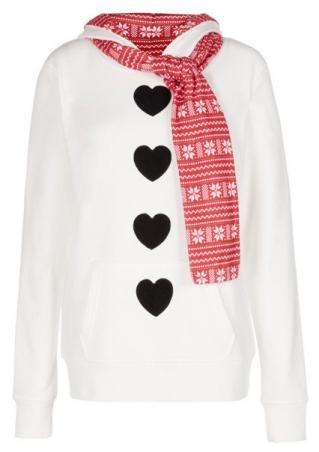 Christmas Heart Flake Printed Hoodie With Scarf Christmas