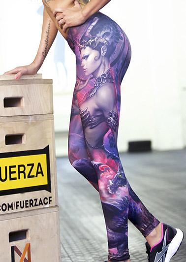 Pantaloni leggings de damă, elastici, fashion, cu imprimeu și talie înaltă