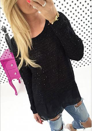 Sequin Chain Lace Cross Casual Knitwear