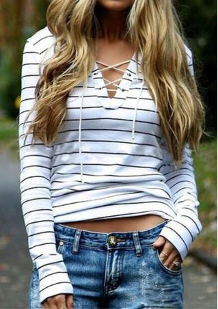 Striped Cross String Casual T-Shirt
