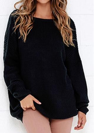 Solid Backless Sexy Loose Sweater