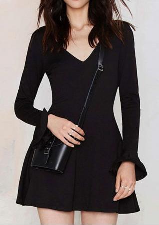 Backless Slim Flare Sleeve Mini Dress Backless
