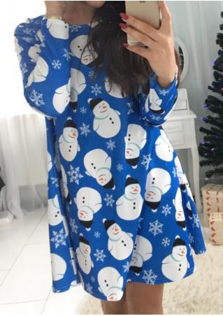 Christmas Cute Snowman Printed Swing Dress Christmas