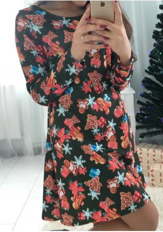 Christmas Gingerbread Printed Swing Dress Christmas