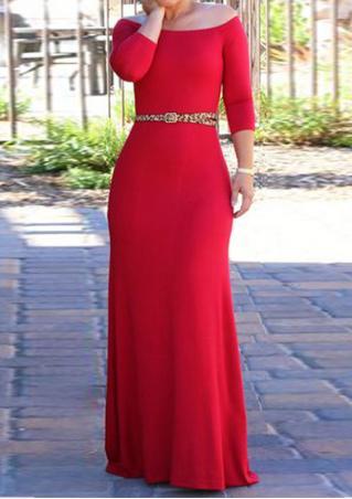 Solid Off Shoulder Maxi Dress Without Belt Necklace