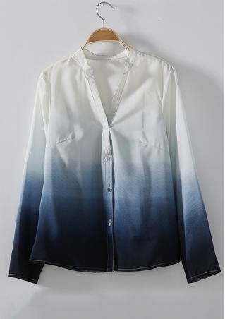 Gradient Color Button Casual Shirt