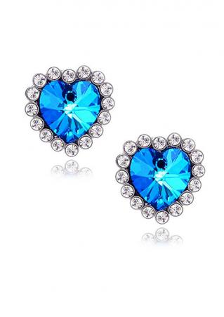 Heart Crystal Ear Studs