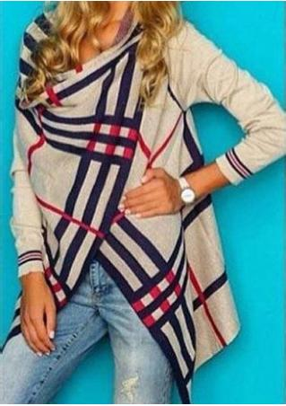 Striped Irregular Casual Long Sleeve Cardigan