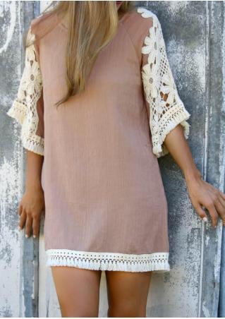 Lace Splicing Tassel Casual Dress
