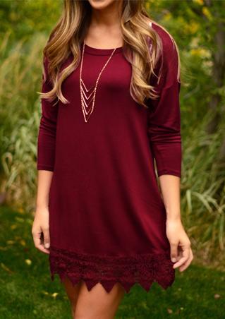 Solid Lace Splicing Casual Mini Dress