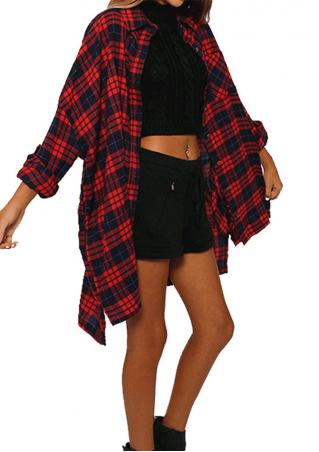Plaid Pocket Casual Long Shirt