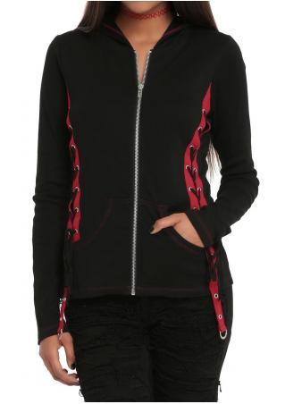String Zipper Pocket Splicing Hooded Coat