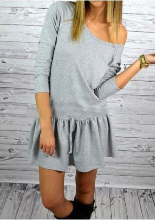 Solid Pockets Casual Mini Dress