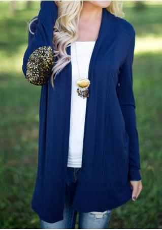 Solid Sequined Splicing Casual Cardigan
