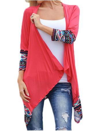 Ethnic Printed Splicing Irregular Casual Cardigan