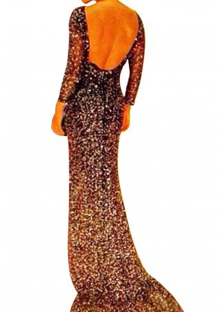 Solid Sequin Backless Bodycon Maxi Dress