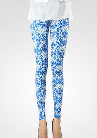 Blue White Porcelain Printed Long Leggings Blue