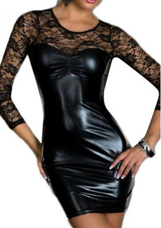 Solid Lace Leather Hollow Splicing Bodycon Dress Solid