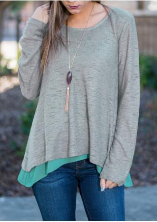 Double-Layered Chiffon Knitted Irregular Sweater