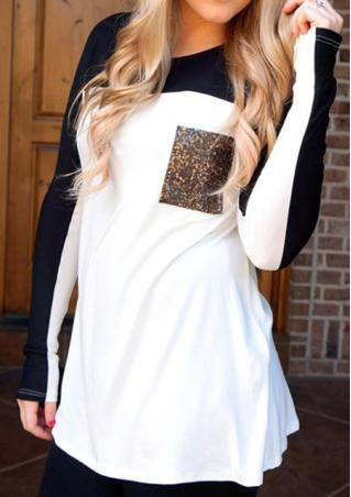Sequin Pocket Splicing Casual Blouse