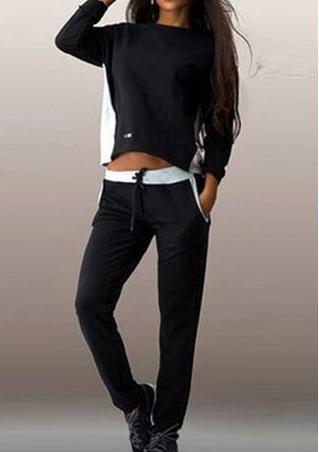 Splicing Back Zipper Sweatshirt Trouser Suits