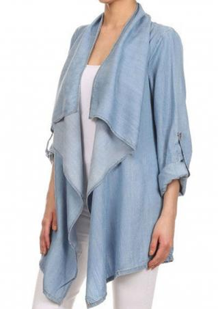 Solid Ruffled Denim Irregular Casual Cardigan