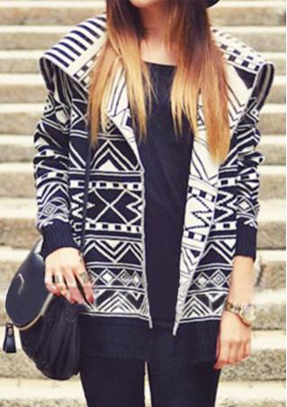 Geometric Printed Knitted Casual Cardigan