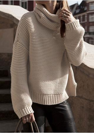 Solid Loose Casual Long Sleeve Sweater