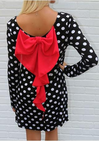Polka Dot Red Bowknot Mini Dress Polka