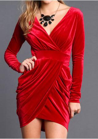 Red V-Neck Bodycon Mini Dress Red