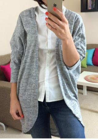 Solid Three Quarter Sleeve Casual Cardigan