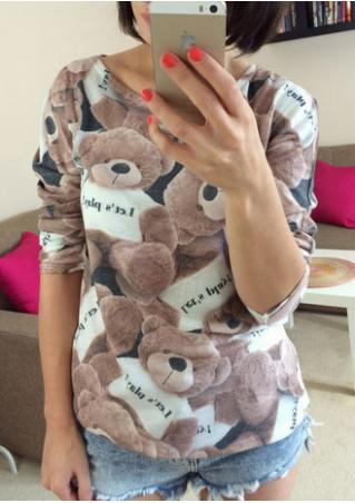 Teddy Bear Printed Three Quarter Sleeve T-shirt