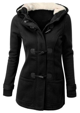Solid Hooded Horn Button Coat