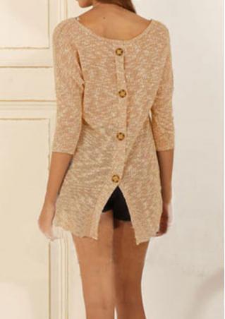Back Button Casual Knitwear Sweater Back