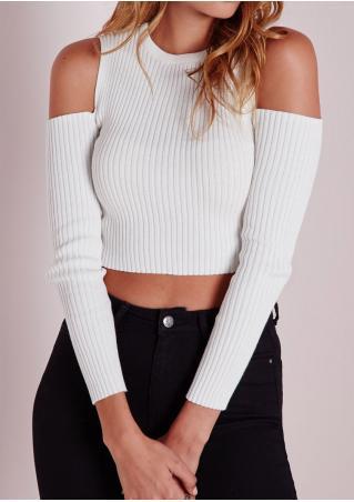 Solid Off Shoulder Short Knitwear Sweater