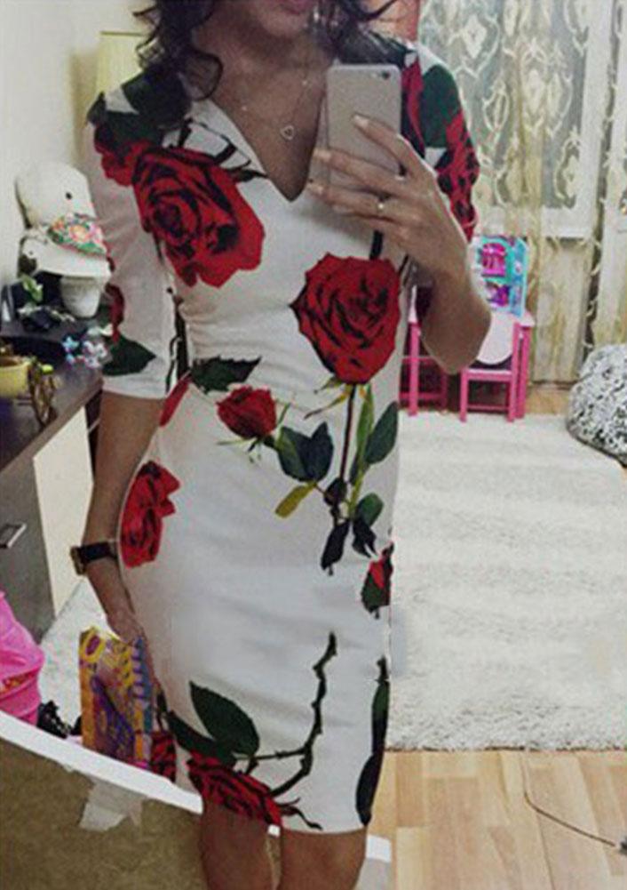 Rochie scurtă, mulată, slim fit, cu imprimeu floral și mâneci scurte
