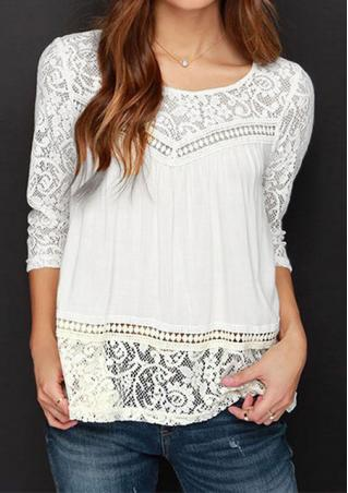Solid Lace Hollow Out Casual Blouse