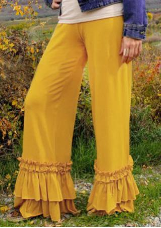 Solid Ruffled Flared Wide Leg Pants