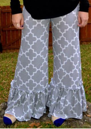Printed Casual Wide Leg Flared Pants