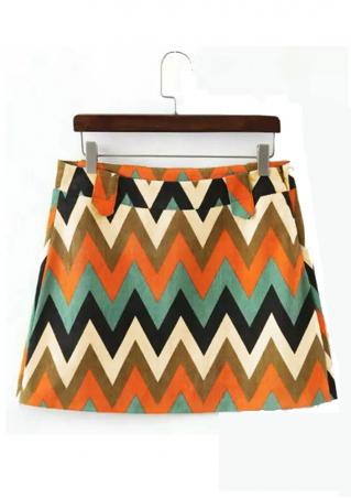 Printed Corduroy Fashion A-Line Skirt