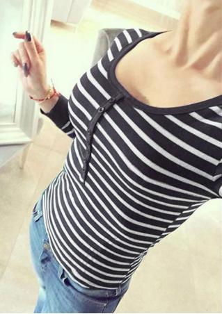Striped Button Casual Bodycon T-Shirt