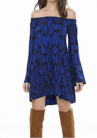 Printed Off Shoulder Flare Sleeve Mini Dress