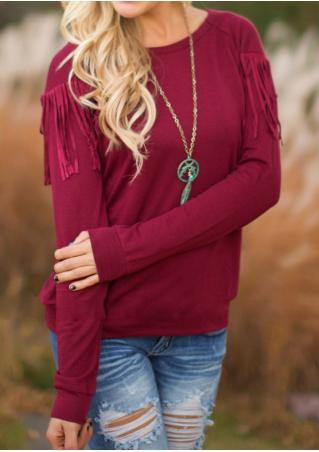 Solid Color Tassel Casual Long Sleeve Blouse